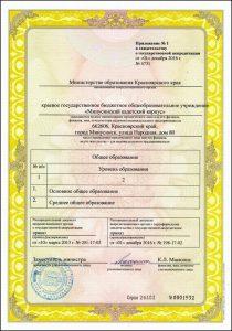 Приложение к свидетельству гос. аккредитации